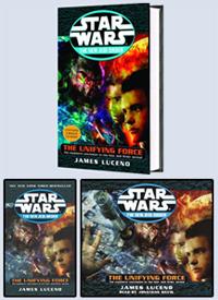 Le même roman - The Unifying Force - en trois format : hardcover, paperback et CD Audio.