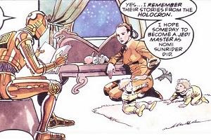 C3-PO raconte une histoire aux jumeaux Solo, pendant que Leia s
