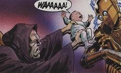 Palpatine tente de prendre Anakin bébé des bras de C3-PO