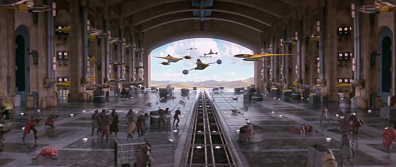 Hangar de theed encyclop die star wars universe for Interieur vaisseau star wars