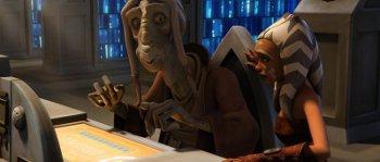 Ahsoka consulte les archives du temple avec le maître Tera Sinube
