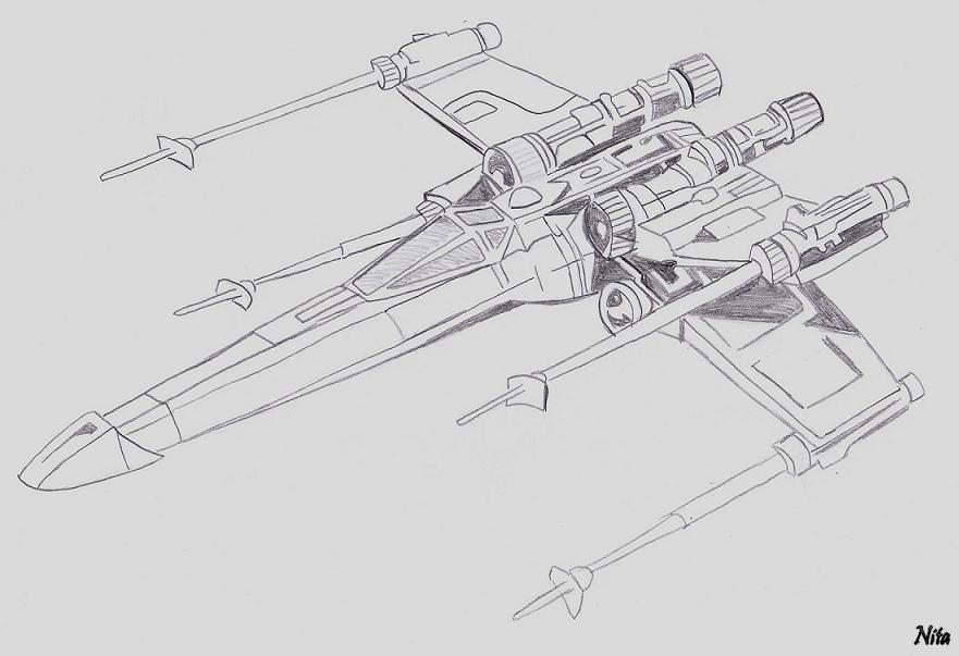 X wing fan arts star wars universe - Dessin vaisseau star wars ...