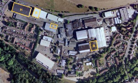 vue satellite des studios Shepperton avec en jaune les plateaux utilisés par Star Wars