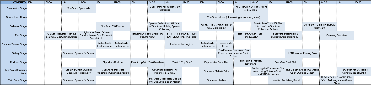 Programme du vendredi