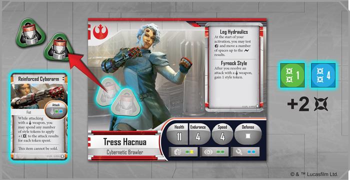 En dépensant deux jetons de style, Tress ajoute deux dégâts à son attaque de mêlée avec le Cyberarm renforcé! Une fois l'attaque résolue, elle récupérera un jeton grâce à sa capacité de style Frynock.