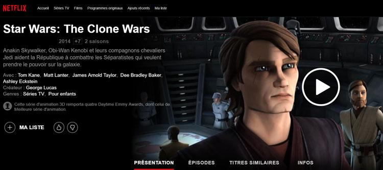 The <a href='/tv-serie-3-clone-wars.html' class='qtip_motcle' tt_type='tv-serie' tt_id=3>Clone Wars</a> sur Netflix