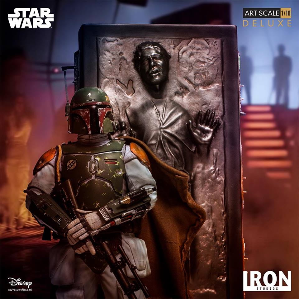 Iron Studios Boba Fett &amp; <a href='/personnage-152-han-solo.html' class='qtip_motcle' tt_type='personnage' tt_id=152>Han Solo</a> in Carbonite Deluxe