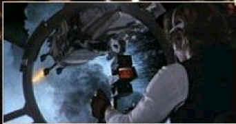 Han Solo en train de casser du TIEs depuis une tourelle du Faucon