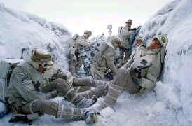 Un groupe de fantassins rebelles dans les tranchées de Hoth