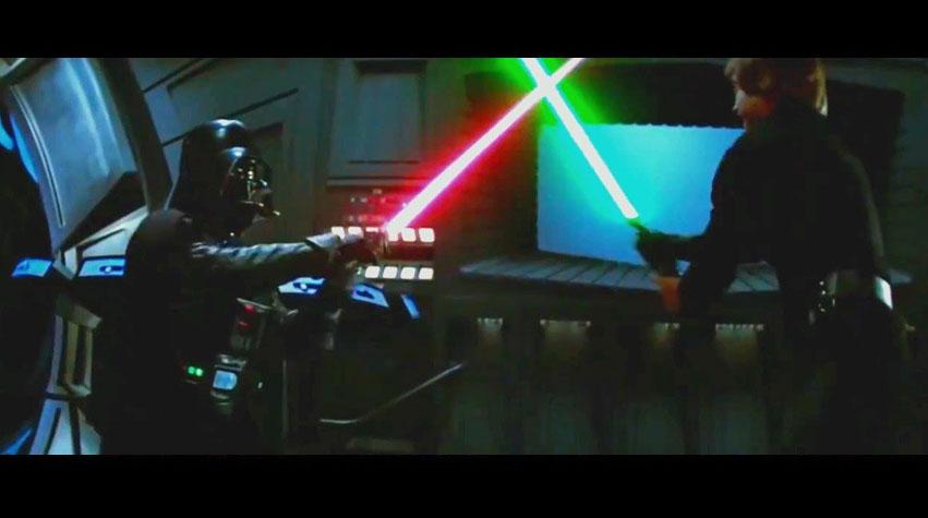Le combat entre Luke et Vador