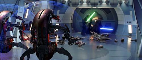 Obiwan et Qui Gon face aux droidekas