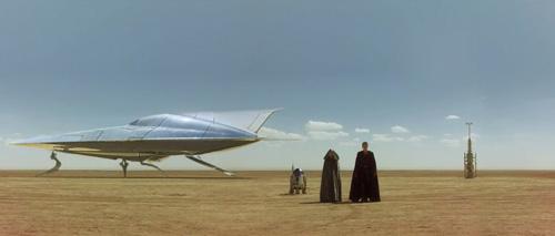 Padmé et Anakin arrivent sur Tatooine