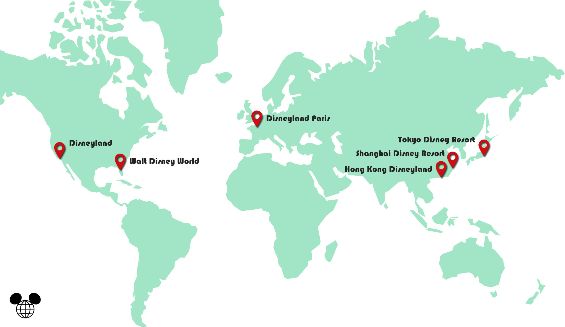 Carte Disneyland dans le monde