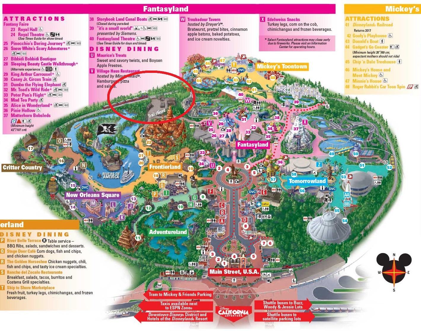 Plan Disneyland Californie 2017