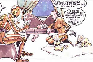 C3-PO raconte une histoire aux jumeaux Solo, pendant que <a href=