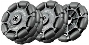 Exemple de roues holonomes développées par la société Rotacaster