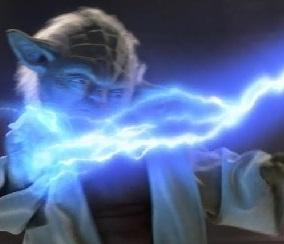 Un éclair de Force lancé sur Yoda