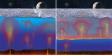 Vue d'artiste de l'océan sous la glace d'Europe