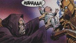 Palpatine essaye de retirer Anakin bébé des bras de C-3PO