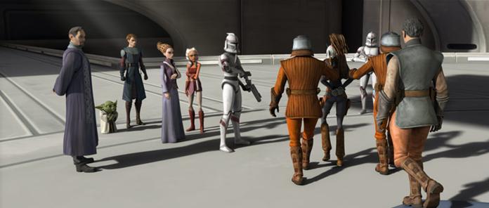 Aurra Sing, escortée par des gardes naboos vers la prison de la République sur <a href=