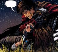 Antares tient dans ses bras la princesse Marasiah Fel, gravement blessée par les Sith sur Vendaxa
