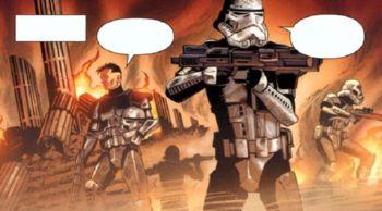 Toujours mené par Harkas, Trask et ses camarades fouillent les ruines de la colonie de Napdu, bombardée par les Sith, avec l