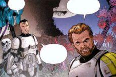 Menés par le sergent Harkas, Anson et ses camarades fouillent la jungle autour des ruines du temple Jedi d