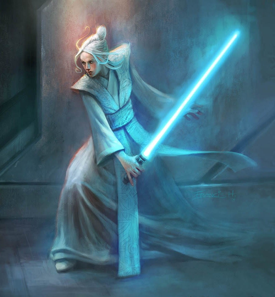 Atris avec son sabre activé, durant la guerre Civile des Jedi