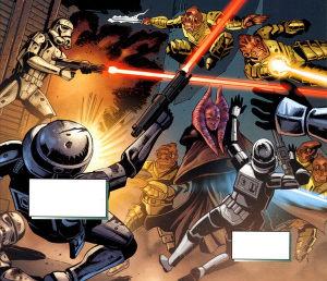 Asaak aide les Rangers Calamariens à lutter contre les stormtroopers Sith-impériaux, lors de la bataille pour DAC