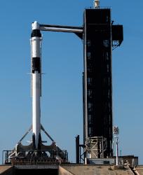 La Falcon 9 de Space X équipée de la capsule à destination de l'ISS © Space X
