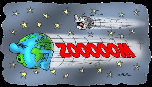 Voici, avec un trait d'humour, à quoi ressemble vraiment notre planète dans l'Univers © Uttini