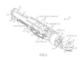 Schéma d'un sabre rétractable lumineux breveté par Disney © Google Patents